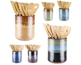 Utensil Jar in your choice of 16 glazes! Wheel thrown pottery utensil crock / spoon jar / kitchen utensil holder / MADE TO ORDER in 6 weeks