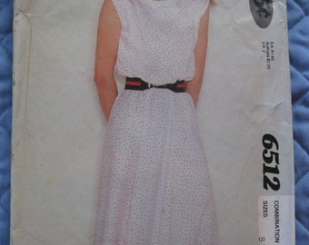 1980 McCall's Show-Me Sewing Pattern 6512 Pullover Dress Size 8-10-12