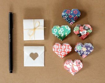 Set of 6 Mini Heart Notes + Envelopes with Sticker Seals - Origami Heart Note Stationery Set - Japanese Paper - Tiny Envelopes - Love Notes