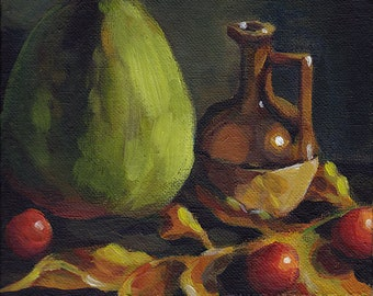 "Autumn in Low Key - original acrylic still life painting, 6x6"" on canvas board"
