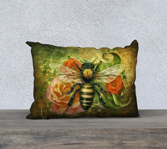 vintage bee pillow cushion cover in earth tones