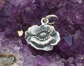 Poppy Charm, Poppy Flower Charm, California Charm, Flower Charm, Sterling Silver Charm, Flower Pendant, PS01265