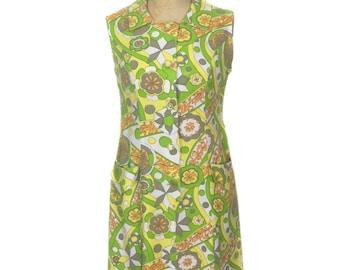 vintage 1960s citrus floral shift dress / cotton / button front / spring summer / women's vintage dress / tag size 16