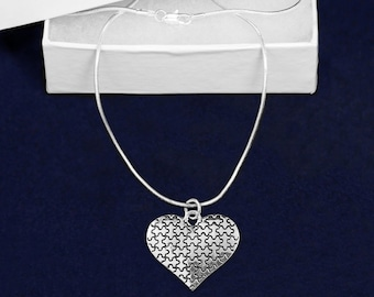 Puzzle Piece Heart Autism Necklaces In Gift Boxes (12 Necklaces) (N-94-2)