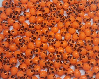 10mm Neon Orange Day of the Dead Halloween Skull Beads - Bag of 100