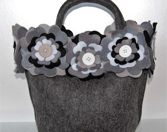 Beautiful Handmade Grey Felt Handbag with an Extravagance of Felt Flowers