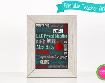 Teacher Subway Art, Teacher Appreciation, Teacher Gift, Classroom Decor