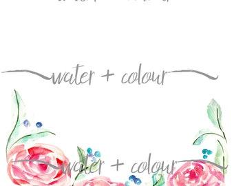 Watercolor Roses Bottom Border