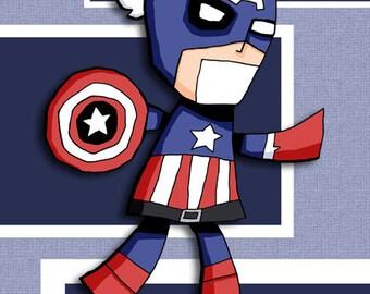 Super Hero Art Print Captain America Avengers
