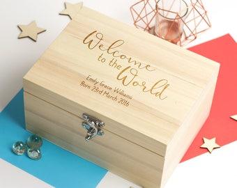 New Baby Keepsake Box - Welcome To The World - Personalised Keepsake Box - Memory Box - Wooden Keepsake Box - New Baby Gift - LC103