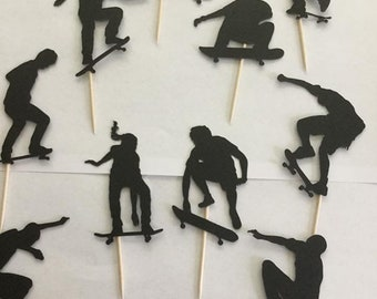Skateboard silhouette cupcake toppers, skateboard lover party