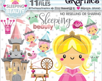 Princess Clipart, 80%OFF, Princess Graphics, COMMERCIAL USE, Sleeping Beauty, Princess Party, Sleeping Beauty Party, Cute Princess