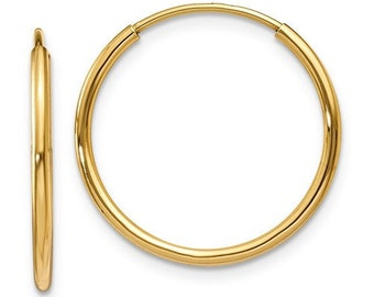 Endless Hoop Earrings 14k Yellow Gold 11mm - 52mm NEW Hoops
