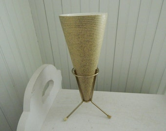 Rare Shawnee Elegance Cone Shaped Mid Century Art Pottery Vase with Brass Tripod Stand - Mid Century Modern Shawnee Cone Vase w/Brass Stand