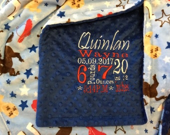 Personalized Custom Embroidered Minky Blanket in dimple dot royal blue/western blue