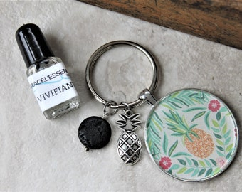 DIFFUSER KEYCHAIN with pineapple charm gift set, diffuser keychain, key ring, aromatherapy, unique gift, one of a kind gift, teacher gift