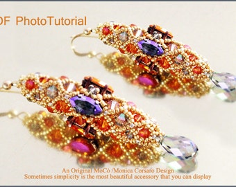 DIY Photo Tutorial Eng-ITA ,*Netti* earrings ,PDF Pattern 76 with navette,drops, swarovski and seed beads,instructions,bead weaving