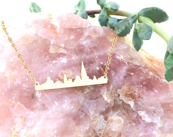 Gold Plated New York Skyline Necklace - Gold NYC Necklace - Manhattan Skyline Necklace - Gold New York Charm Necklace