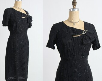 Brocade LBD with Brooch Black Cocktail Dress