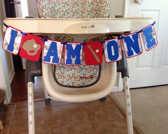 I AM ONE Baseball Theme Highchair Banner, Baseball themed first birthday party, rookie of the year first birthday, all star first birthday