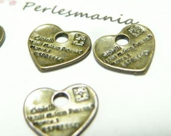 pendants message heart BR ref A15447 4pcs