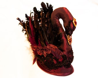 Red and Black Swan Inspired Fascinator. Swan Headpiece. Swan Headdress. Swan Hat.