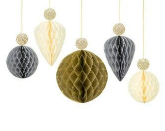 Decadent Decs Bauble Honeycombs with Glitter Tops