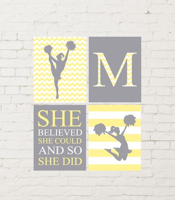 Yellow grey room decor cheerleader wall art cheer girl room