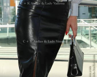 C+K leather skirt, PVC skirt, 60ies-style with slit, pencil skirt,  super shiny, new handmade