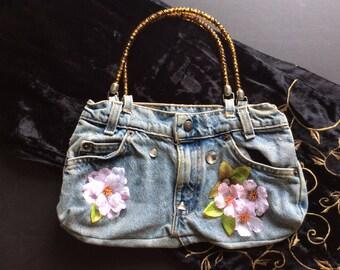 Little Girl's Jean Cherry Blossom Handbag