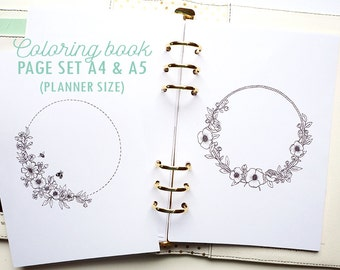 Coloring book printable pages Flower wreath set