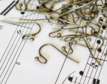 100 Antiqued Bronze Fish Hook Ear Wires