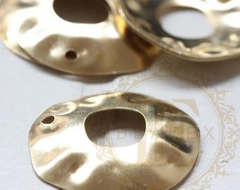 4 Pieces / Hammered / Textured / Irregular / Pendant / Charm / Raw Brass (C3830)