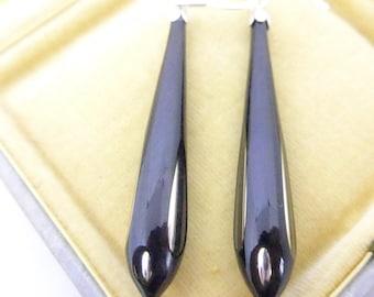 Vintage Mirror Glass Drop Earrings - Black and Silver Glass Drop Earrings