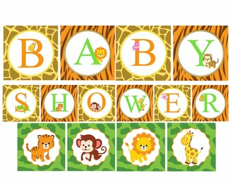 Safari Baby Shower Banner, Jungle Baby Shower Decorations, Printable  Banner, Safari Baby Animals