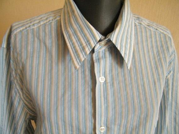 HUGO BOSS men's shirt Designer slim fit shirt Blue white striped button  down shirt Long sleeves Oxford shirt size XL shirt