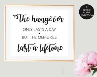Wedding Alcohol Sign, Funny Wedding Sign, Bar Wedding Sign, Wedding Hangover Kit Sign, Bachelorette Party Hangover Kit, Printable Wedding
