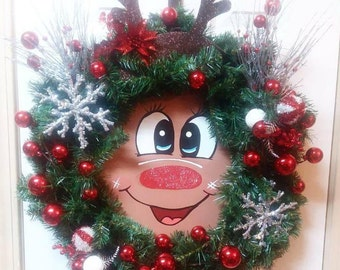 Rudolph Decorations, Rudolph Decor, Christmas Wreath With Sign, Wreath For Christmas, Wreath Christmas, Santa Wreath, Santa Door Wreath