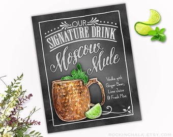 Download - Moscow Mule Signature Drink Sign with Chalkboard Border - AS IS - PRINTABLE Party Decoration - Instant Download