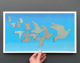Twelve Racing Pigeons - Original Artwork from Counting Birds