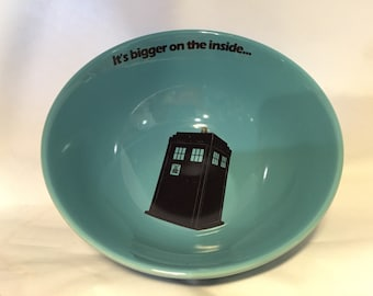 Dr Who TARDIS bowl doctor who, whovian it's bigger on the inside bowl, cereal, ice cream