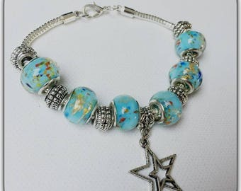 Sky blue and gold lampwork glass beads charms bracelet