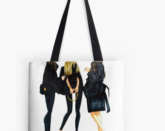 Ladies In Black Tote (Fashion Illustration art  Home Decor Gift Ideas  Gifts for Her Wedding Gifts Graduation Gifts Birthday Gifts)