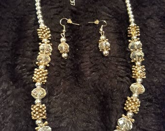 Vintage Beaded Necklace And Earrings With Metal And Glass Beads.