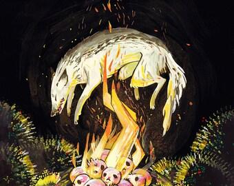 Ashen Jackal Gouache Giclee Original Painting