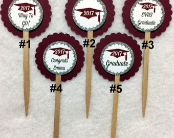 ANY YEAR Set Of 12 Personalized Maroon Graduation 2017 Cupcake Toppers (Your Choice Of Any 12)