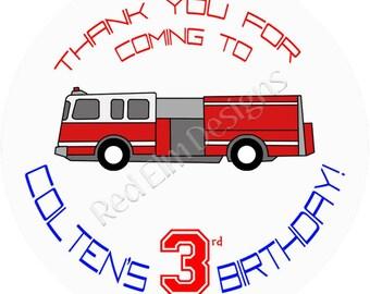 "Fire Truck Birthday Stickers - Sheet of 20 - 2"" round.  Fire Truck Birthday Party Favors.  2 Inch Round Fire Truck Stickers"