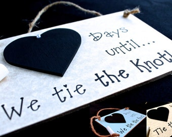 """Engagement Gift Idea, Wedding Countdown Sign, """"Days Until..We Tie The Knot!"""" (Gray) Engagement Gifts For Couple, Engagement Present"""