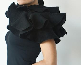 Black ruffle shawl - Elegant nuno felted statement scarf - Eco fashion for stylish gothic weddings - Woman woolen wrap for Halloween costume
