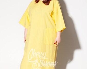 Yellow Maxi dress/ Plus size linen dress/ Plus size dress/Plus size Kaftan/Plus size clothing/ Plus size Long dress/Plus size summer/054.243